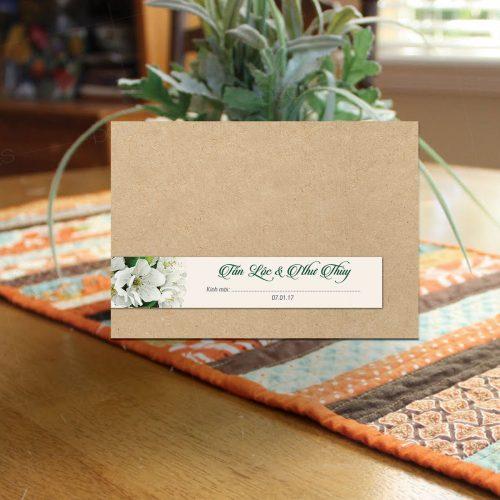 thiệp cưới xanh lá cây green blossom 01
