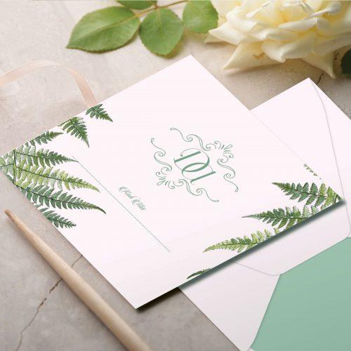 thiệp cưới xanh lá cây leaf mint 01