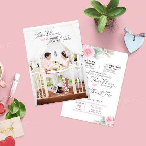 thiệp cưới in hình cô dâu chú rễ 1